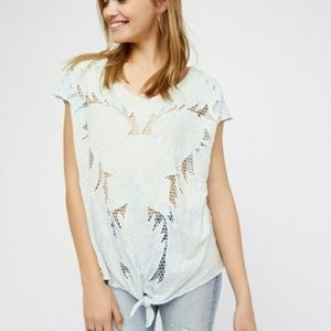 Free People Castaway Embroidered Kimono Top S